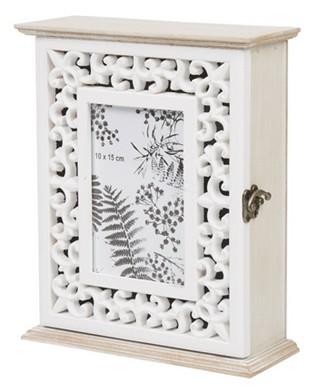 Boîte à clés porte-photo mdf sculpté blanc naturel